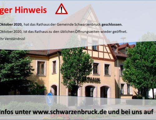 Rathaus am 09.10. geschlossen
